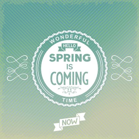 spring is coming label on old-fashion background