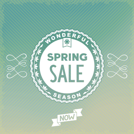 Spring SALE label design on beautiful ornament background Vector
