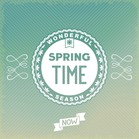 curlicues: Label spring time on old-fashion background