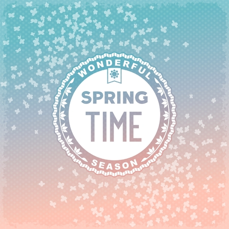 Label spring time on flowers background