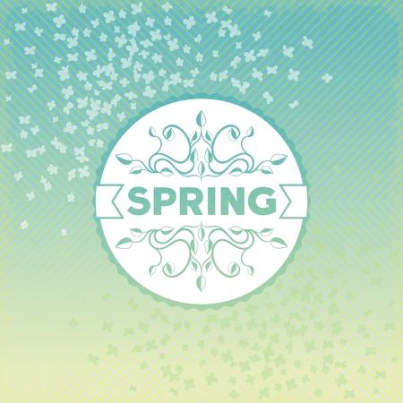Spring label design with floral ornaments on vintage background