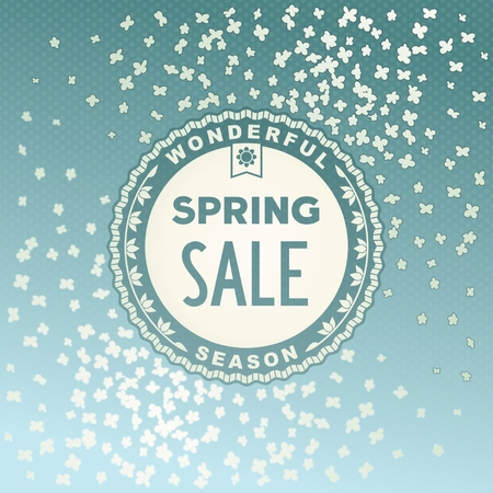 Spring SALE label design on beautiful flowers background