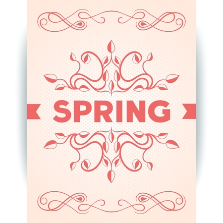 Spring inscription poster with leaves decoration design  Vector eps10