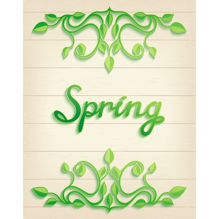 handwrite: Floral spring leaves over wood background with handwrite lettering  Vector illustration