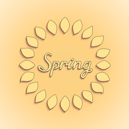Sunny leaves with Spring lettering on light yellow background  Vector illustration Illustration
