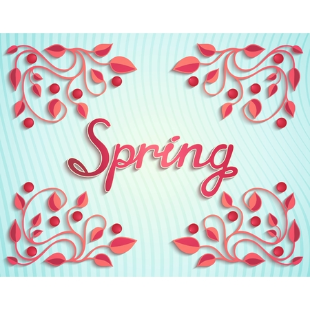 Bright spring design elements with floral pattern and calligraphic inscription  Vector eps 10  Vector