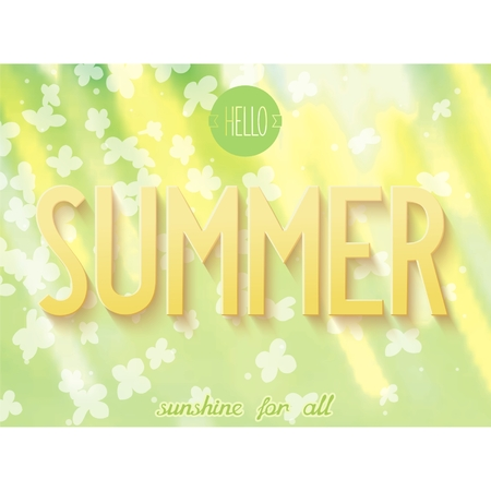 Summer natural abstract background with 3D inscription  Vector illustration