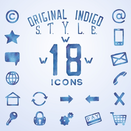 watercolor technique: Icons for web interface in blue indigo style, watercolor technique