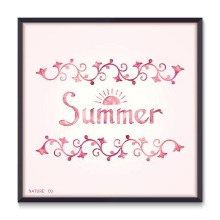 watercolor technique: Summer floral pattern and lettering, watercolor technique