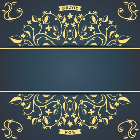 Vintage background template with floral pattern   Vector