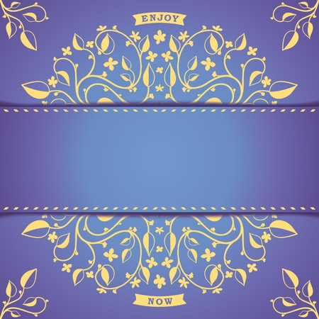 Vintage background template card with floral pattern   Vector