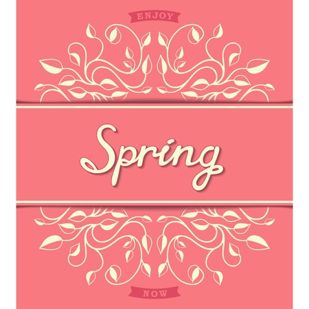 Spring template with floral pattern and calligraphic inscription   Vector