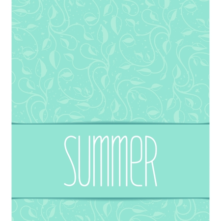 Summer template with floral pattern and calligraphic inscription  Illustration