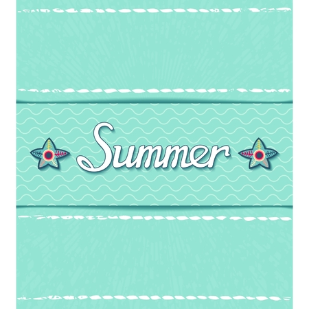 Summer sea poster with calligraphic inscription on grunge background   Vector