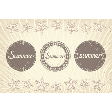 Three round grunge label with inscriptions for summer  Bonus summer beach with sand background   Vector