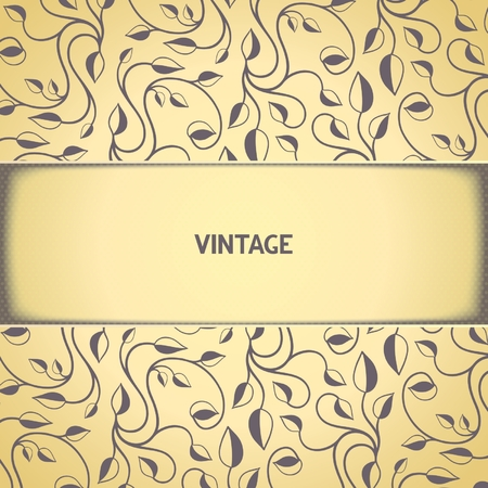 Vintage background template with floral pattern and aged effect   Vector