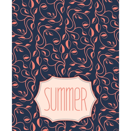 Summer frame on floral pattern and calligraphic inscription  Vector