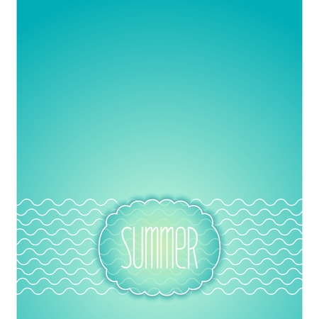 Summer sea pattern with waves and decorative frame Vector