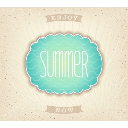 Decorative seashell with lettering  summer  on background beach sand  Vector eps 10  Vector