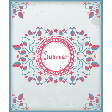 provence: Floral pattern style of Provence with the effect of antiquity and label in center