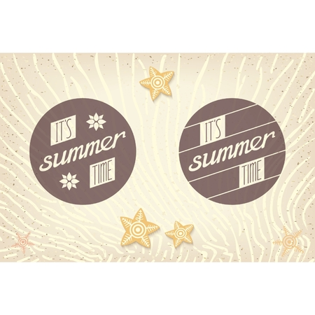 sand background: Two round label with inscriptions and design elements for the summer  Bonus summer beach with sand background