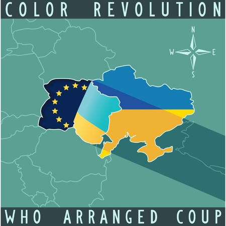 coup: The crisis in Ukraine  Who arranged coup  Map of Ukraine with bent edge