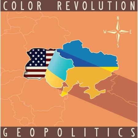 geopolitics: Who arranged coup in Ukraine  Map of Ukraine with bent edge