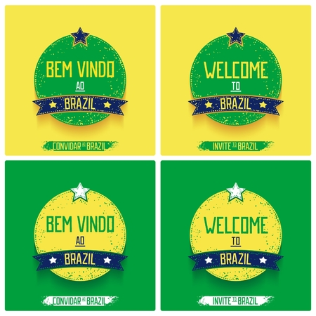 Round retro labels -  Welcome to Brazil  in two languages  Vector eps 10 Vector