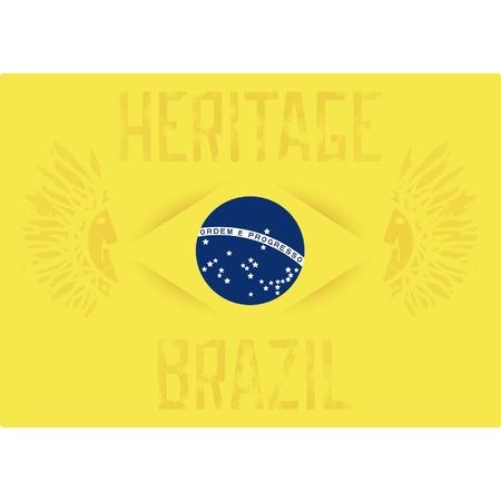 miras: Soyut historycal tasarımı - Brezilya miras. Brezilyalı bayrak arka plan üzerinde iki Hintliler. Vektör 10 eps Çizim