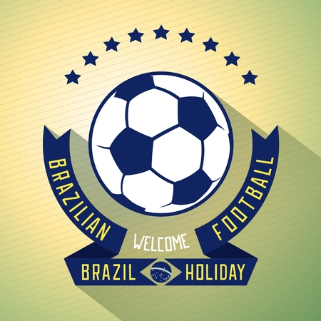 exposed: Sign design invitations for football holiday in Brazil. Effect exposed. Flat vector eps 10