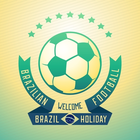 Emblem design for football holiday in Brazil with ball and ribbons. Vector eps 10 Vector