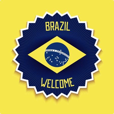 allusive: 3D emblem with allusive flag of Brazil and design retro inscription. Vector eps 10 Illustration