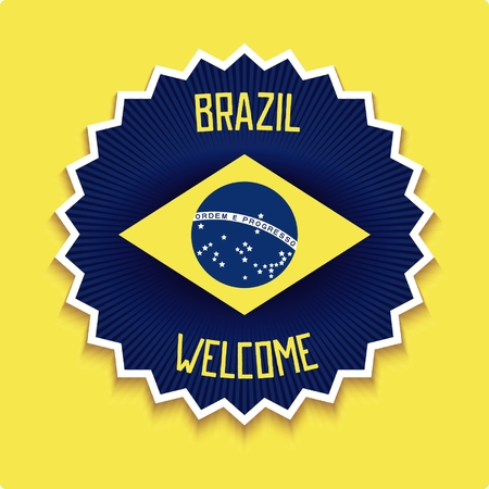 3D emblem with allusive flag of Brazil and design retro inscription. Vector eps 10 Illustration