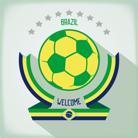 Design emblem for football In the colors of national flag Brazil. Flat vector eps 10 Vector