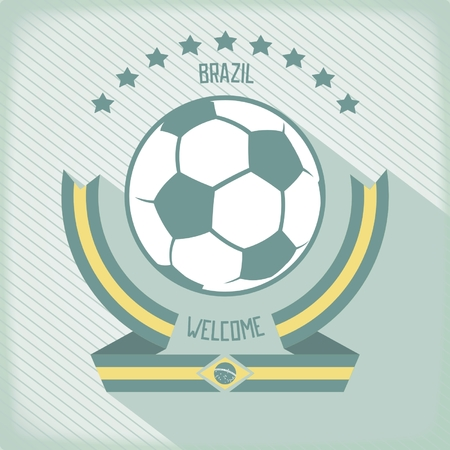 Flat design emblem for football in Brazil. Ribbons around the ball. Vector eps 10 Vector