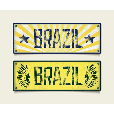 Design signboard in style car plates with inscription BRAZIL. Vector eps 10 Vector