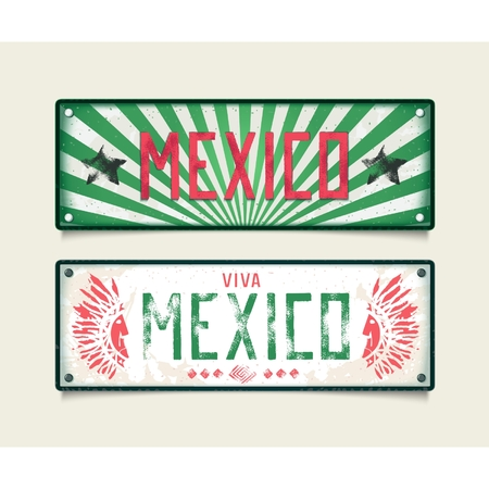Two signboard - Viva Mexico, in style car plates in colors of the flag. Vector eps 10 Vector