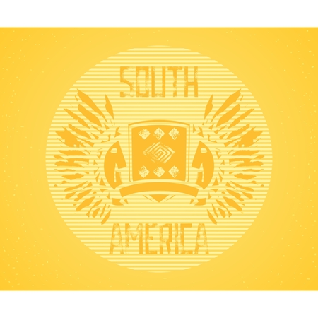 Abstract illustration design - South America, grunge lettering and heraldry composition with Indians.  Vector eps 8 Vector