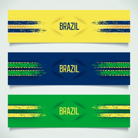 3D modern banners with racing stripes and inscription - Brazil.  Vector