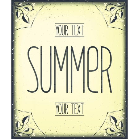 Summer greeting vintage frame template. Vector