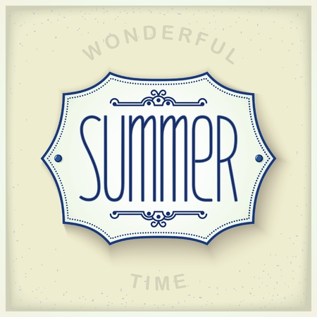lightweight ornaments: Mediterranean design plate on the wall with the inscription - Summer. Vector eps 10 Illustration