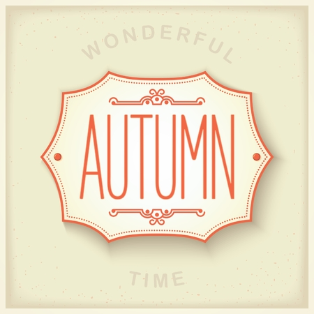 lightweight ornaments: Mediterranean design plate on the wall with the inscription - Autumn. Seasons set vector eps 10