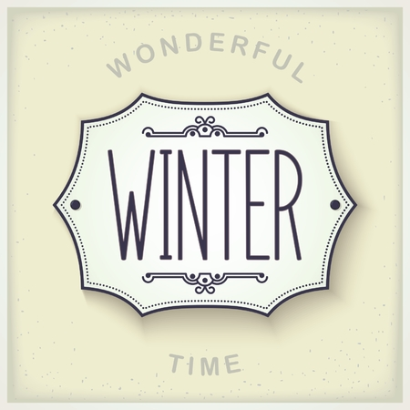 lightweight ornaments: Mediterranean design plate on the wall with the inscription - Winter. Seasons set vector eps 10 Illustration
