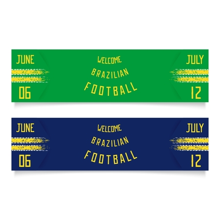 Two sport football banners with racing stripes and inscription