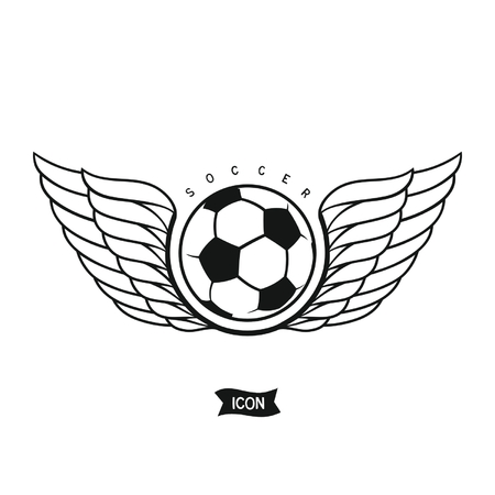bicolor: Soccer ball with wings. Isolated heraldic icon