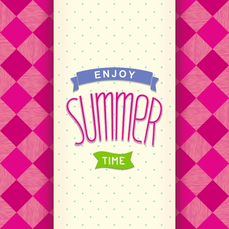 Bright summer postcard with design lettering on pink cell Vector