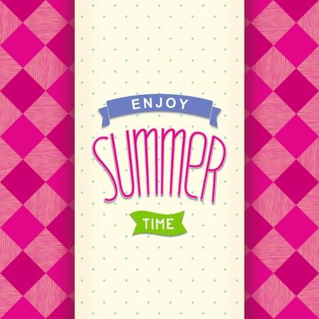 pink cell: Postal de verano brillante con letras dise�o en celular de color rosa Vectores