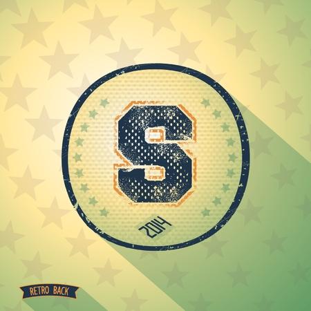 """originalidad: Sporty carta shabby retro """"S"""" en el fondo retro vintage. Vector EPS 10"""