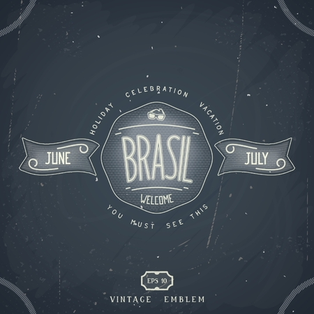 Chalkboard emblem design for Brazil vacation  Vector eps 10 Vector