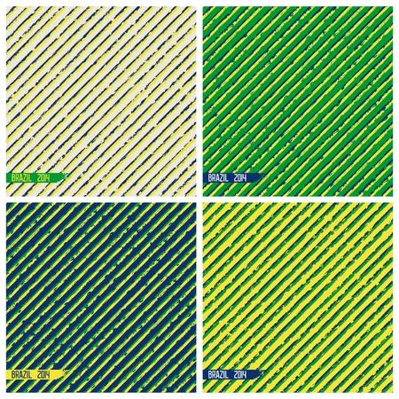 Set grunge backgrounds of diagonal stripes in the colors of flag Brazil  Vector eps 8 Illustration